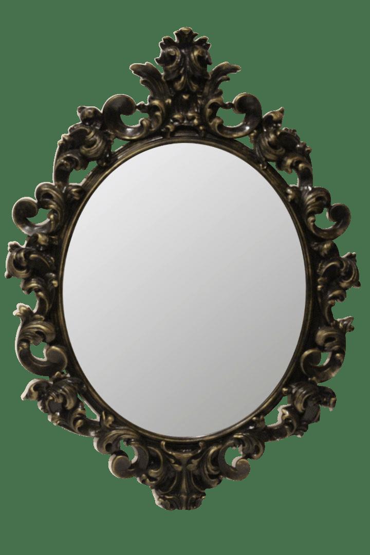 овальное зеркало в черной раме